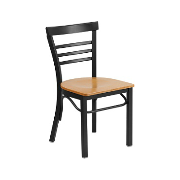 Adelina Black Metal Cafe Chair Wood Seat