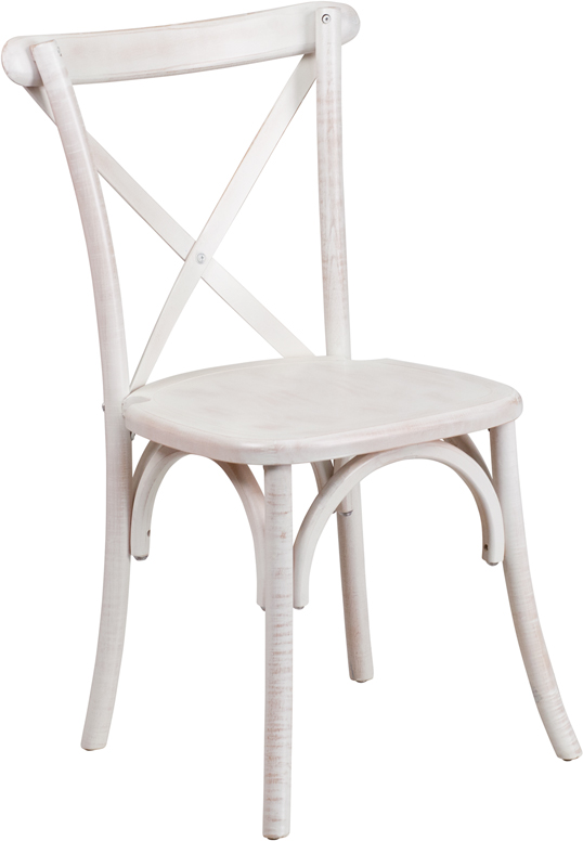 Vintage White Wash Cross Back Beech Wood Chair