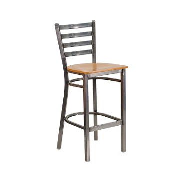 Bettina Medium Gun Metal Bar Stool Natural Wood Seat