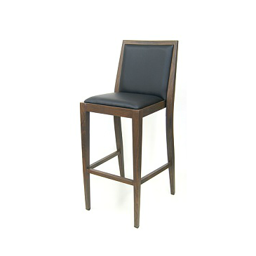 Costata Upholstered Bar Stool Metal Wood Grain Finish Black Vinyl Seat