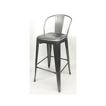 Medium Gun Metal Mid Back Tolix Bar Stool Larger Seat