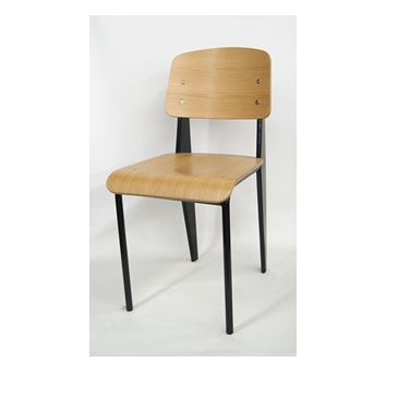 Elementary Industrial Wood Seat Back Side Chair